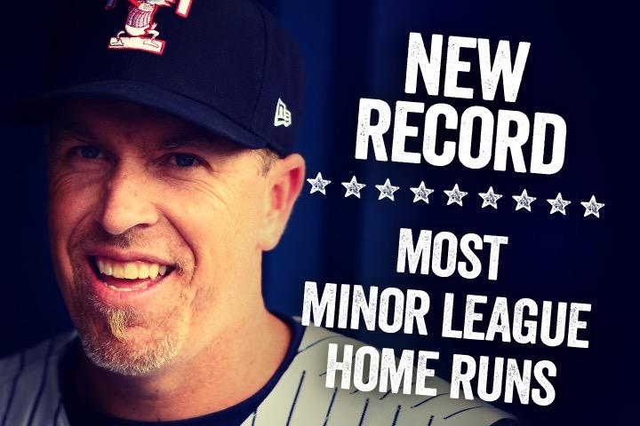 Mike Hessman swings his way into history! Congrats to the new Home Run King! http://t.co/sCIn2Gix3p