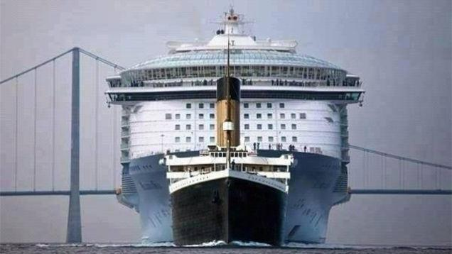 Inside History On Twitter Titanic Vs A Modern Oasisclass - Where is a cruise ship now