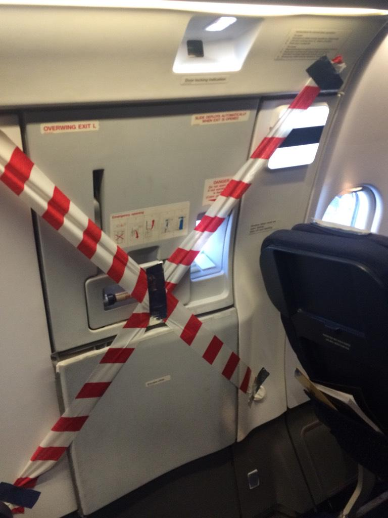 "Fairly sure this shouldn't be allowed? On SAA. And ""exit"" sign above it was duck taped over. #SAA #DODGY http://t.co/JOtpHTjzrc"