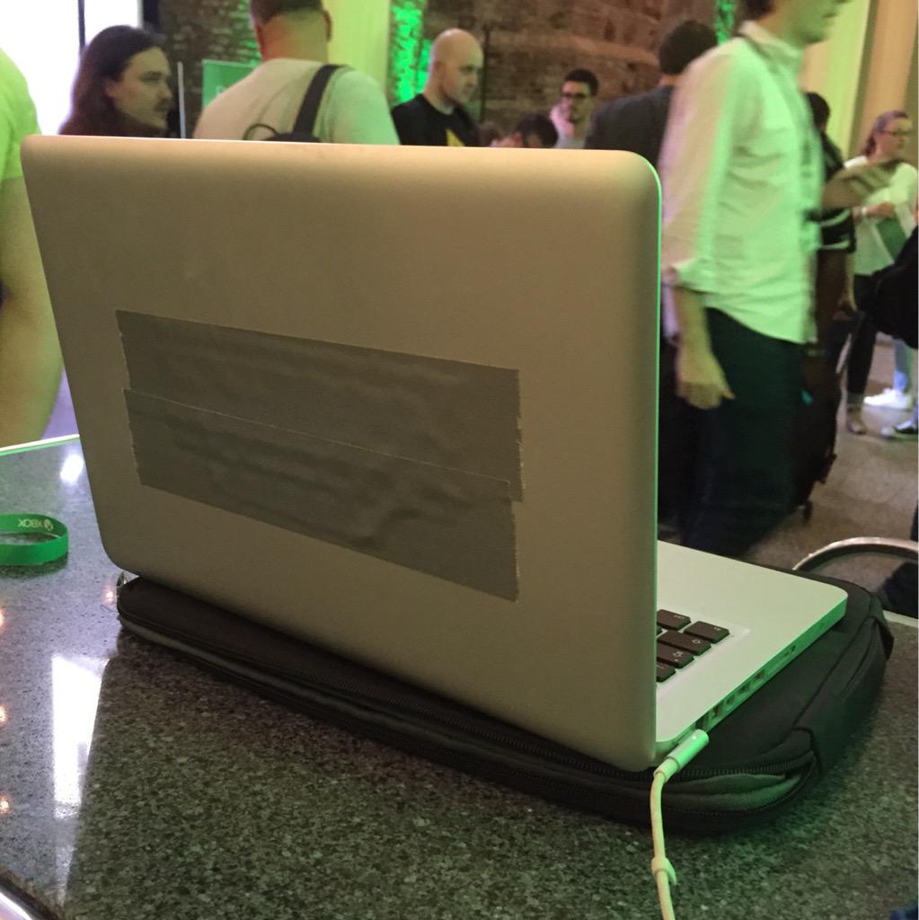 First thing that greets you at Microsoft's Xbox event is a MacBook Pro. http://t.co/tqZkOBsCOe