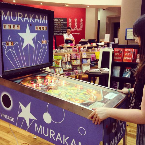 Let battle commence in #murakamipinball! Play at @WaterstonesPicc & @WaterstonesGla Highest scores win a signed copy! http://t.co/K5I2lgWNOd