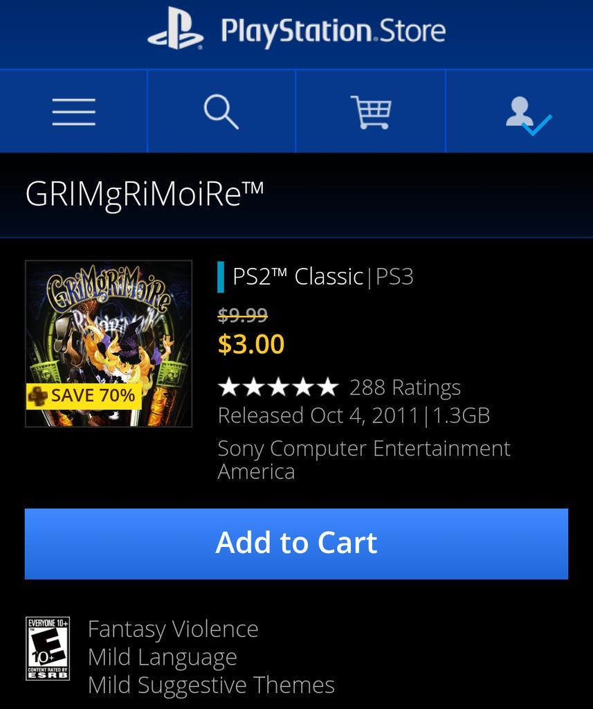 GrimGrimoire is only $3 on the NA PSN  https:// store.playstation.com/#!/en-us/games /grimgrimoire/cid=UP9000-NPUD21604_00-0000000000000000  … <br>http://pic.twitter.com/ZMug5kbfV2
