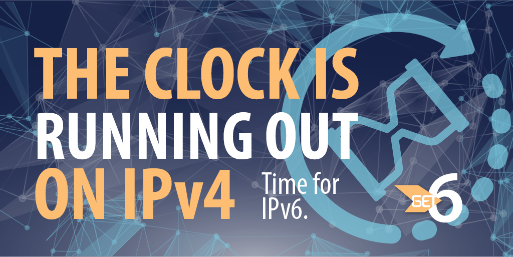 The clock is running out on #IPv4. Time for #IPv6! #get6 http://t.co/HhJkhSqimf