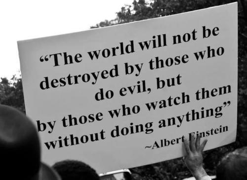 """The world will not be destroyed by those who do evil, but by those who watch them without doing anything."" http://t.co/rYbstbYH9E"