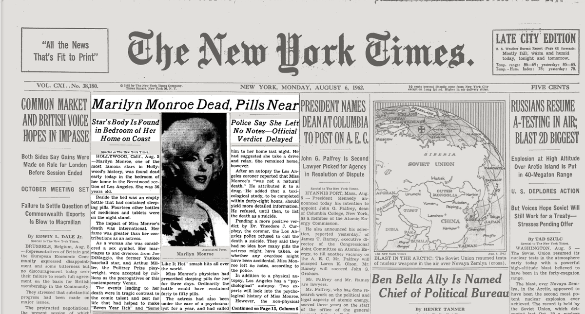 On this day in 1962, Marilyn Monroe, one of the most famous  Hollywood stars, died at 36.  http://t.co/Xua8IuuJMA http://t.co/TJyzeuXWnj