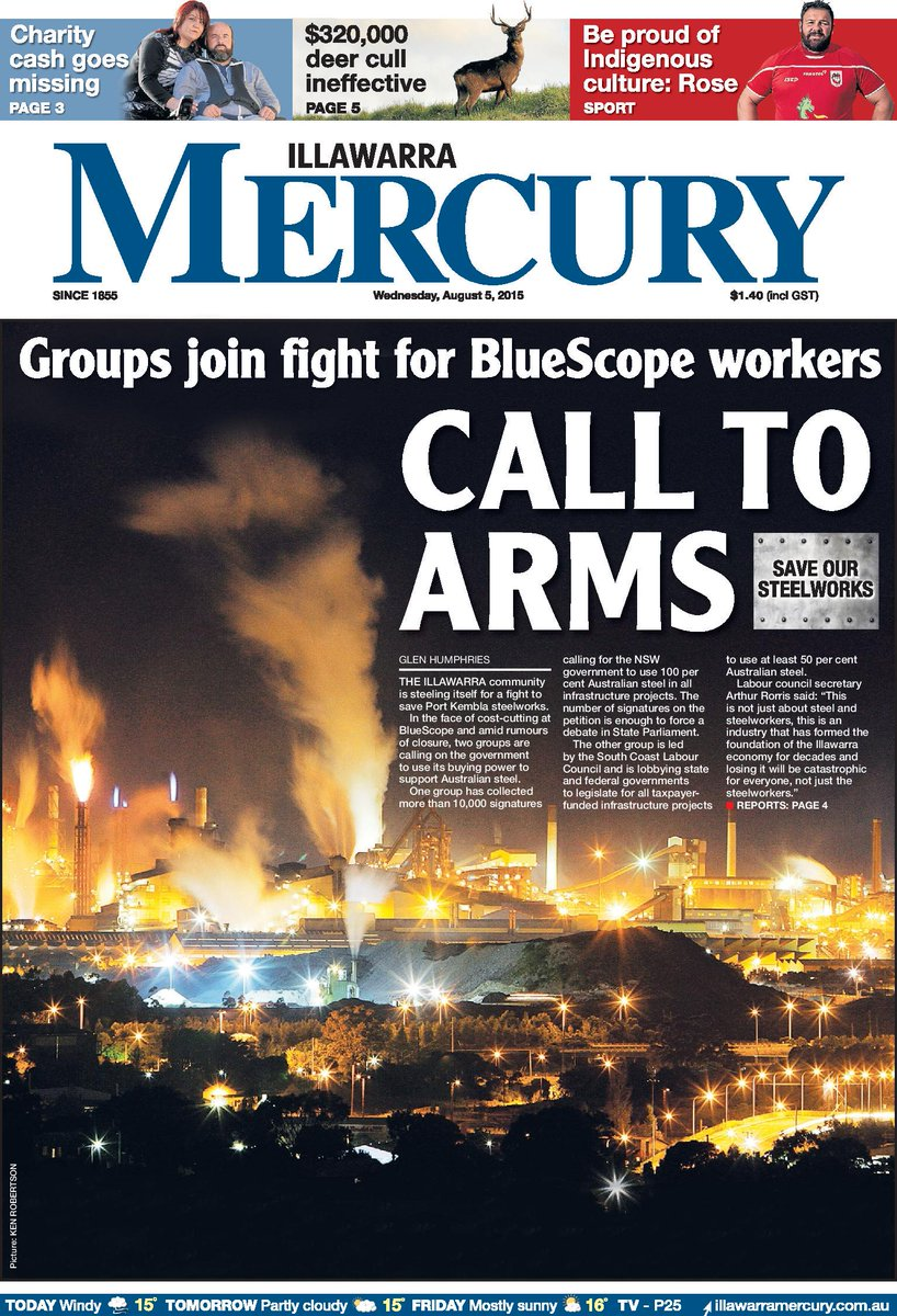 FRONT PAGE: Join the conversation #saveoursteelworks #illawarra #wollongong http://t.co/C1xhUT9EKp