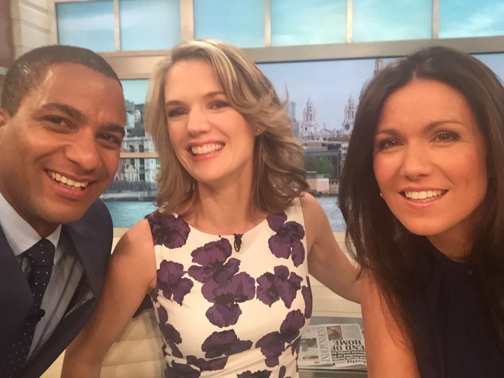 RT @CharlotteHawkns: Morning from @GMB! @susannareid100 @SeanFletcherTV & me in the studio & @Lauratobin1 on the road with the weather http…