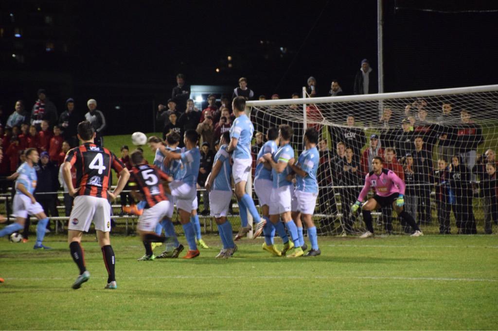 Rockdale taking a free kick; photo: Perth SC