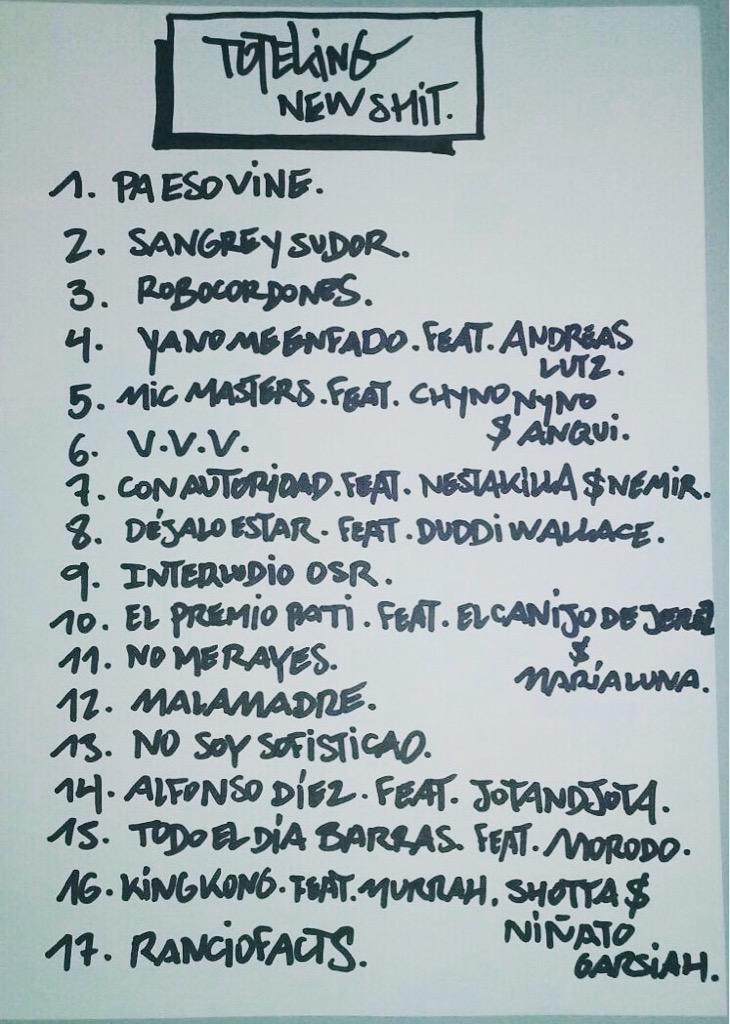 De puño y letra de Tote.  Tracklist del nuevo disco de Toteking que verá la luz el 25 de Septiembre. http://t.co/eJ7kLEny4f