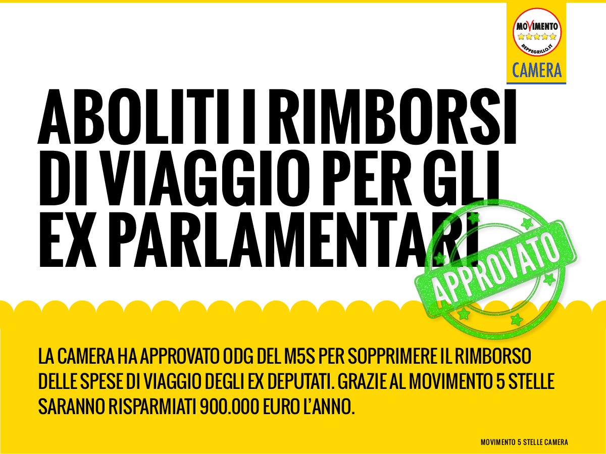 M5s camera on twitter approvato odg m5s che abolisce le for Camera m5s