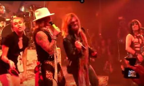 See @MileyCyrus & @billyraycyrus join @SteelPantherEUR for a classic @DefLeppard tune http://t.co/325xj3tHiW http://t.co/TlSdqA6Yfi