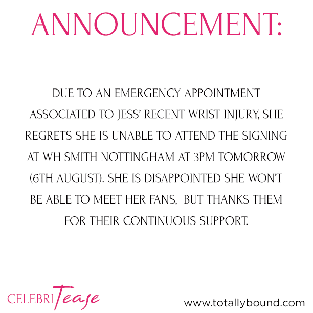 RT @_celebritease: **Announcement** Nottingham book signing with @MissJessWright_ is unfortunately cancelled. More info attached. http://t.…