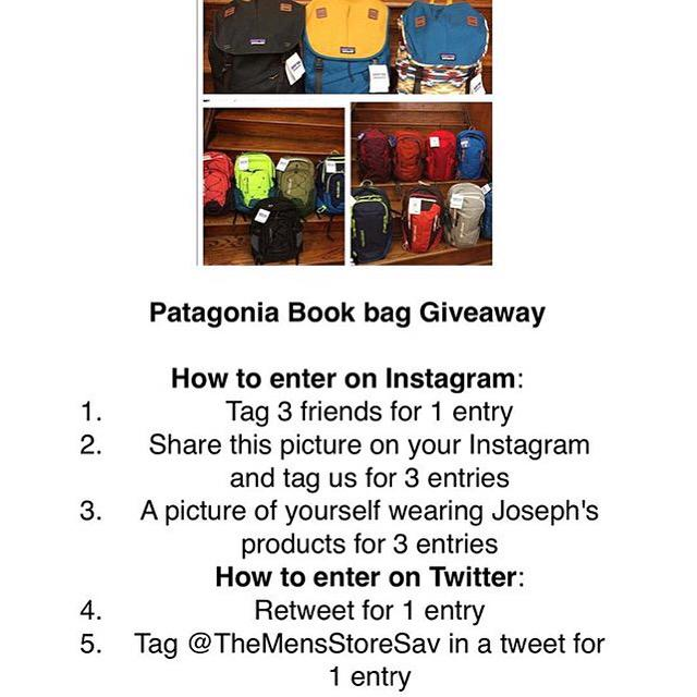 Josephs Clothiers On Twitter PATAGONIA BOOK BAG GIVEAWAY Everyone Can Use A Free Bookbag Rules Are Picture Tell Your Friends