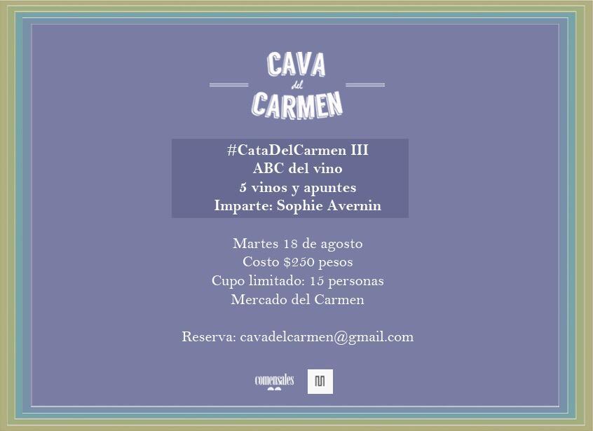 Se acerca la III #CatadelCarmen.  Imparte @shorba. Cinco vinos y apuntes. Info: cavadelcarmen@gmail.com http://t.co/dXzBQ61aqR