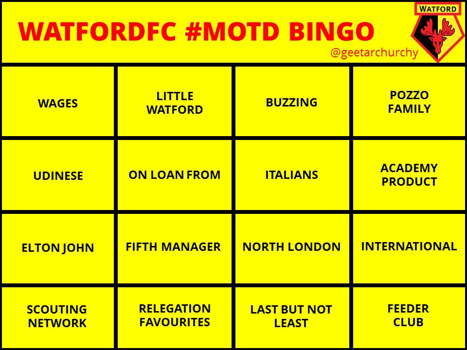 @GaryLineker @BBCMOTD we're ready #WatfordFC #Bingo #MOTD http://t.co/Fc5aKEecaY