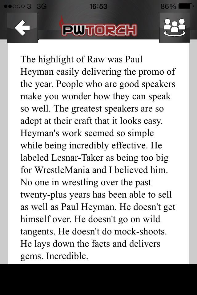 """The guys at @PWTorch praising """"that promo"""" and rightly so @HeymanHustle http://t.co/jWj0BDazY2"""