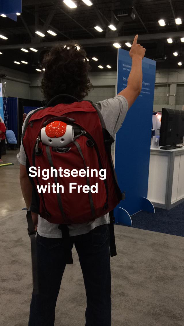 After his appearance at #NIWeek @NaoRobot Fred did some sightseeing in the exhibition hall. http://t.co/FUcXi46sCG