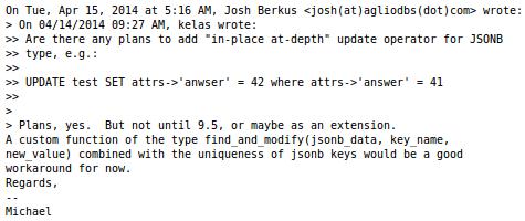postgres mailing list on JSONB create/update/delete