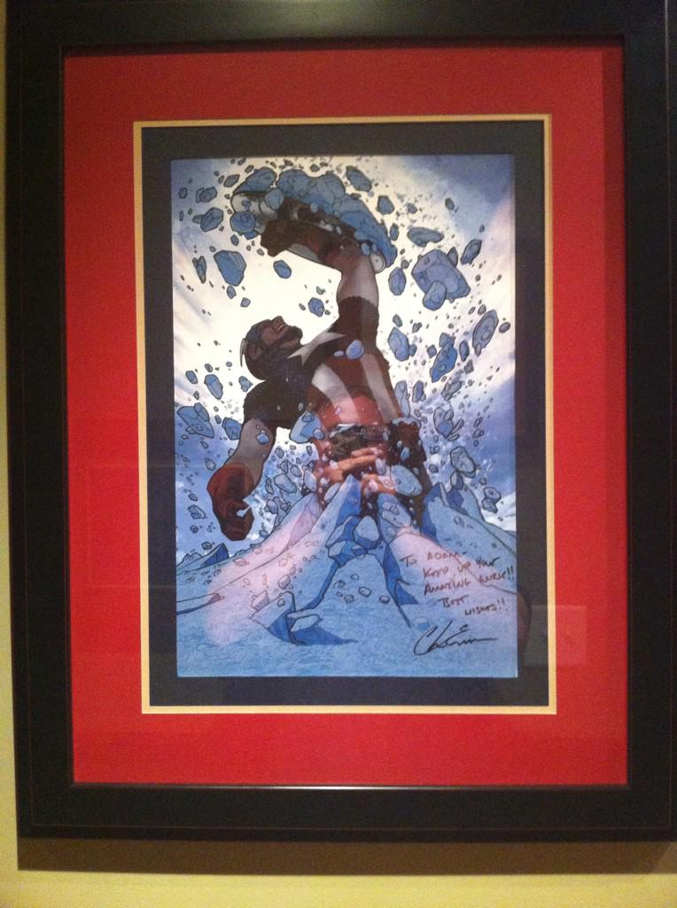 Don't usually frame my own stuff. But when @ChrisEvans signs it... @TomBrevoort @Marvel http://t.co/8vCU4qFVwp