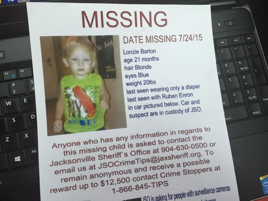 Lonzie Barton, 21-Month-Old, Missing Since July 24, 2015 - Jacksonville, FL -- Mother arrested for neglect. CLrWRb7WgAIMfjl