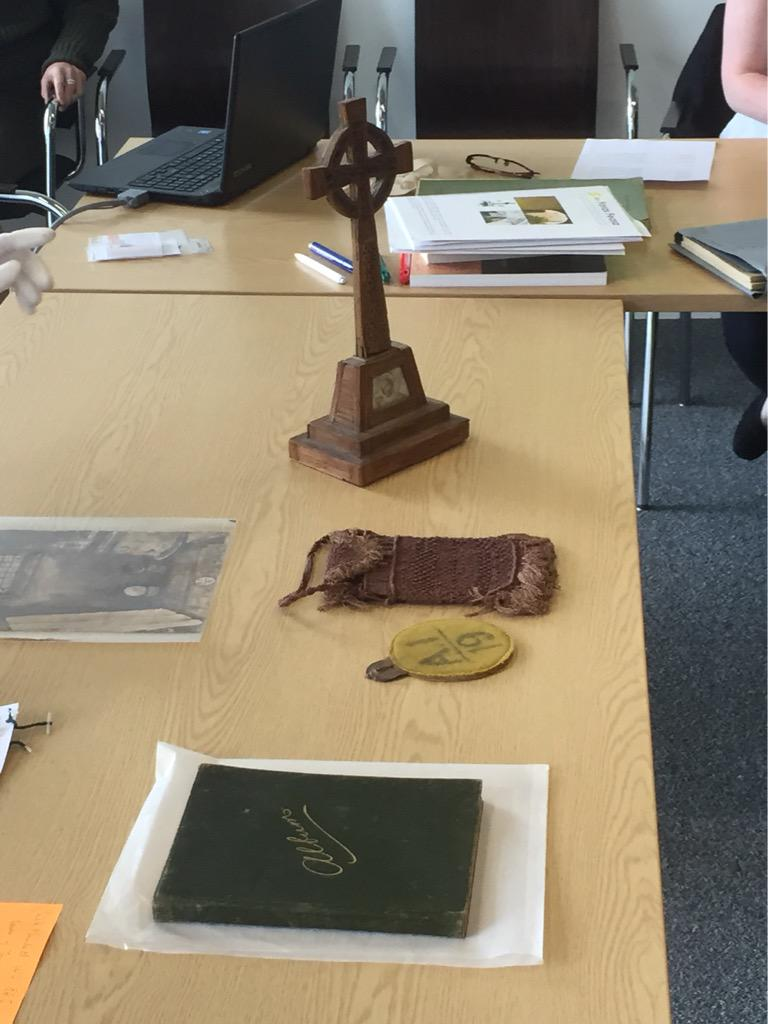 Exploring 1916 artefacts - autograph book and crafts created by internees #teach1916 http://t.co/lM7F1mLFAF