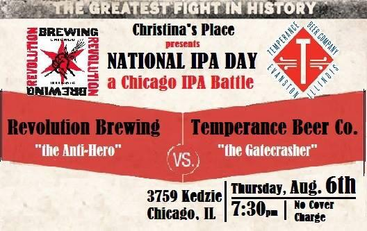 Happy #IPADay! Come celebrate with @RevBrewChicago @TemperanceBeer at Christina's Place! 7:30 https://t.co/hipxnwa6vb http://t.co/UqQ2IdAN2y