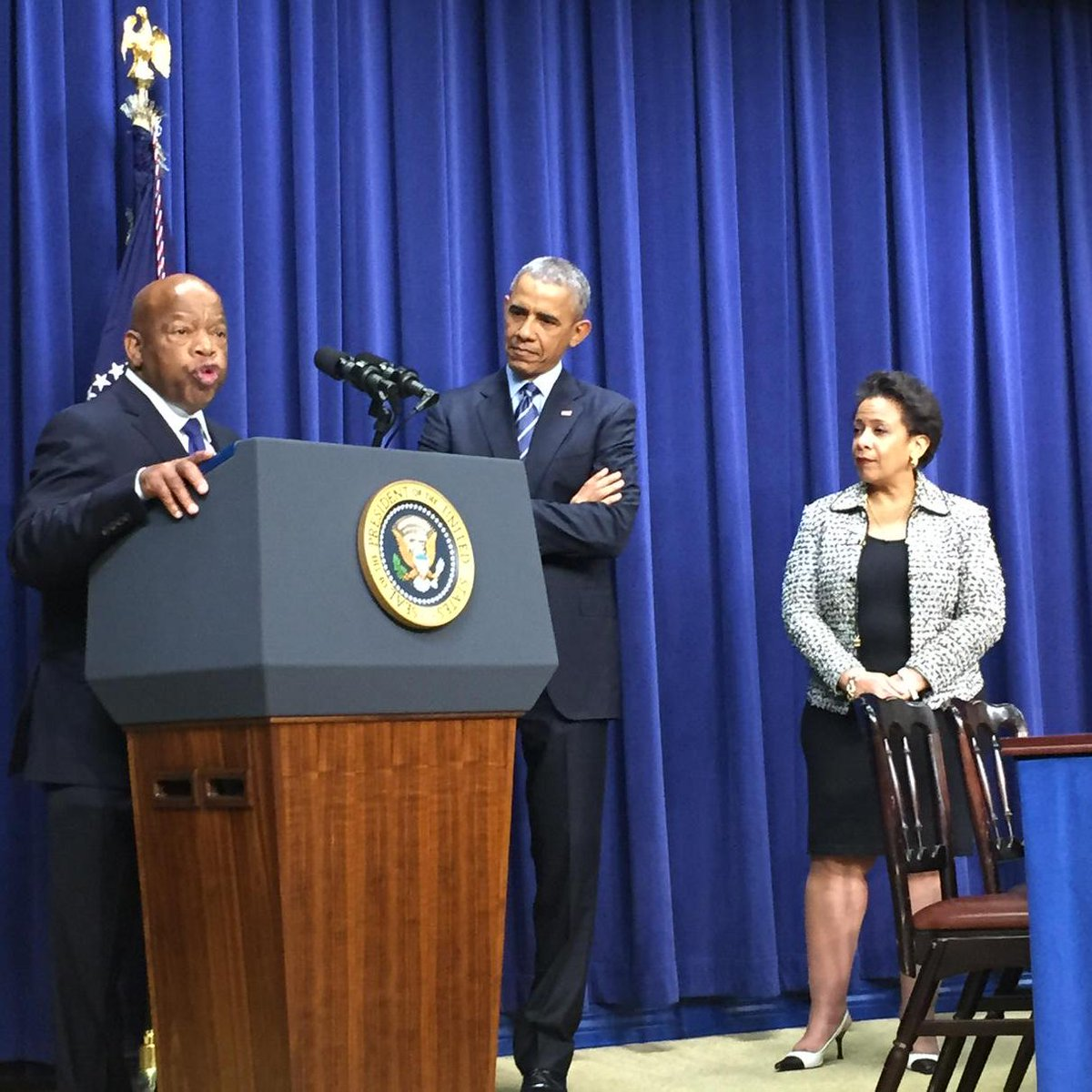 AG @LorettaLynch joins @POTUS and #JohnLewis to commemorate the 50th Anniversary of the Voting Rights Act #VRA50 http://t.co/5AhnxB0R79