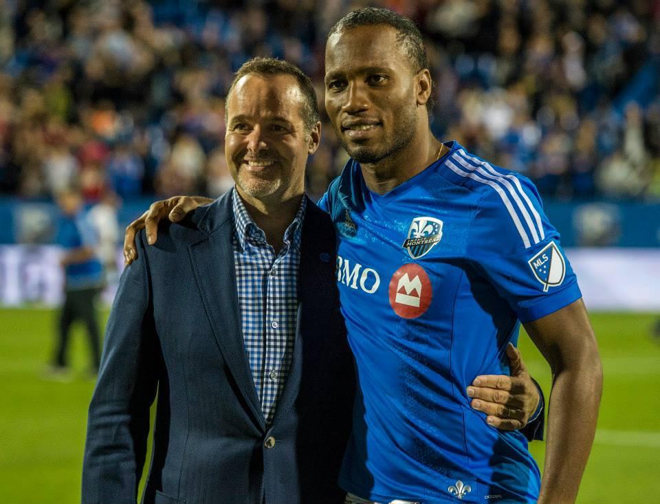 Didier Drogba présenté à la foule pendant la mi-temps du match hier MTLvNY. Blue is DEFINITELY his colour!!! #IMFC