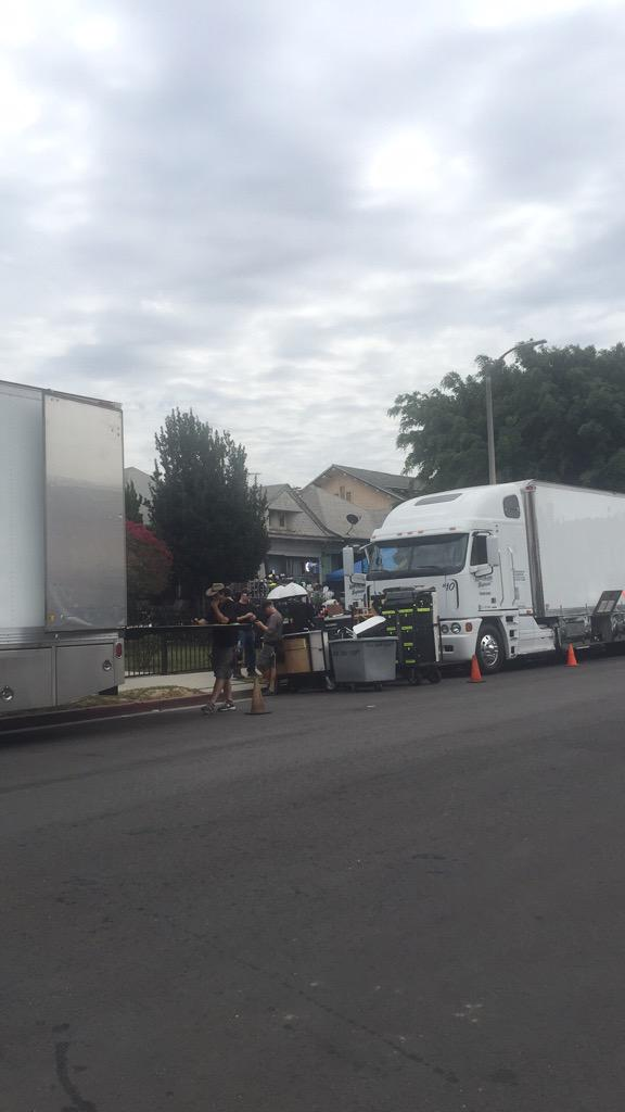 Looks like they are filming a scene from American Horror Story next door to my house. Fun times! #AHS #AHSHotel http://t.co/r7xnpmVh8L
