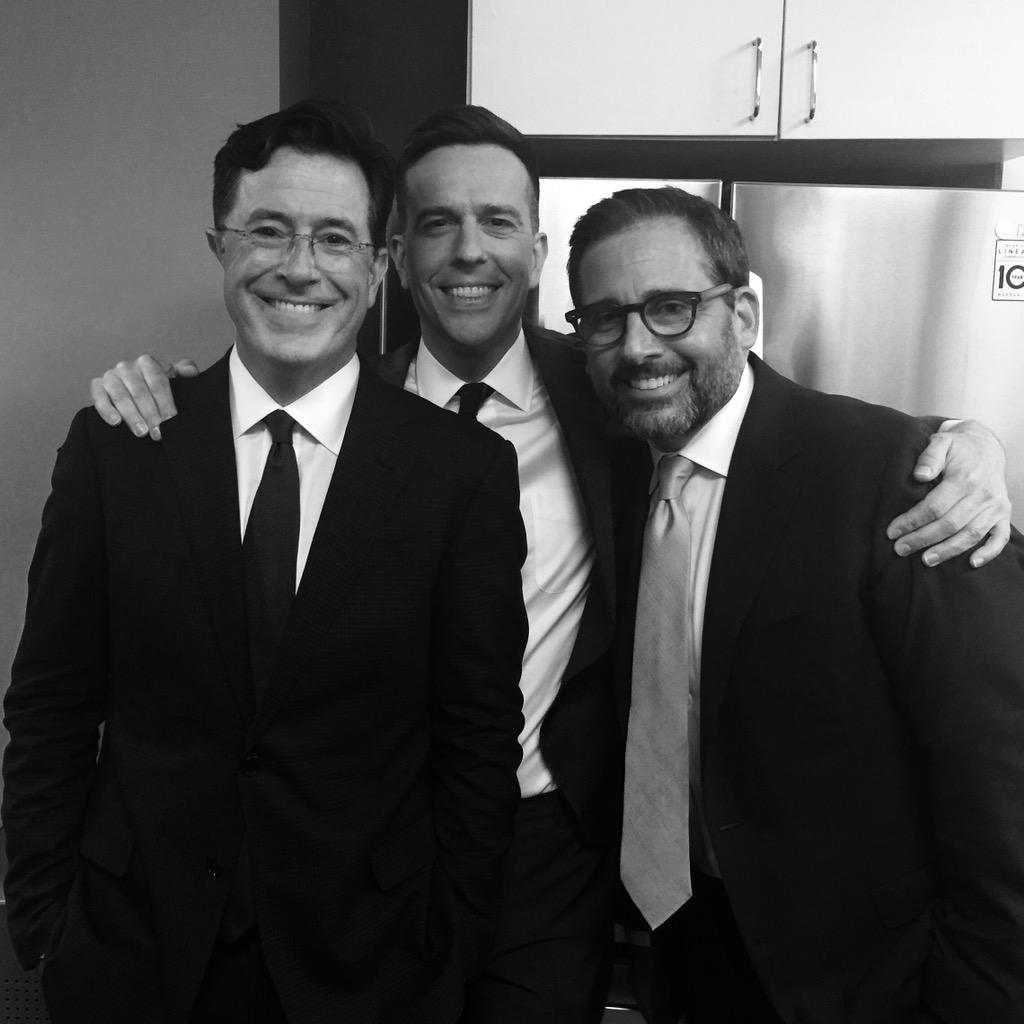Celebrating the end of an era with @StephenAtHome and @SteveCarell. #JonVoyage @TheDailyShow #JonStewart http://t.co/3nTIdDuc0Q