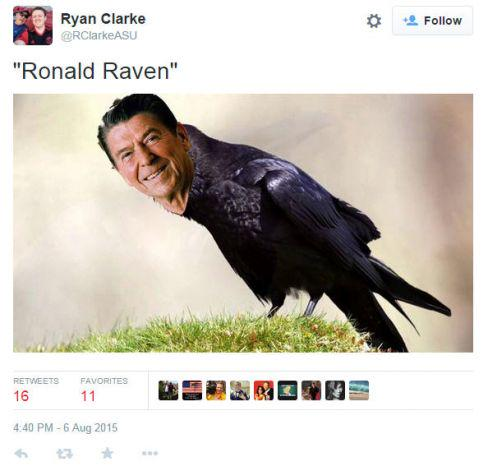 And so it begins: Rick Perry refers to Reagan as 'Ronald Raven' http://t.co/Jcy8oXBPyo http://t.co/8LoupgHp2K