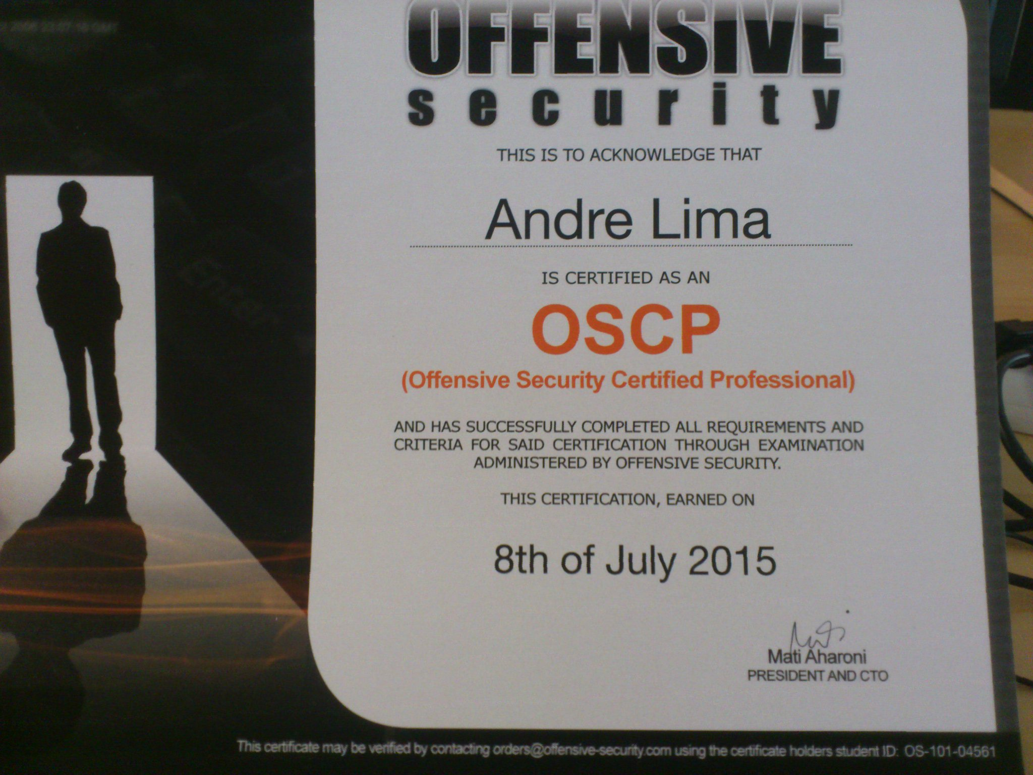 Andre Lima On Twitter Just Got My Oscp Certificate Proud That I