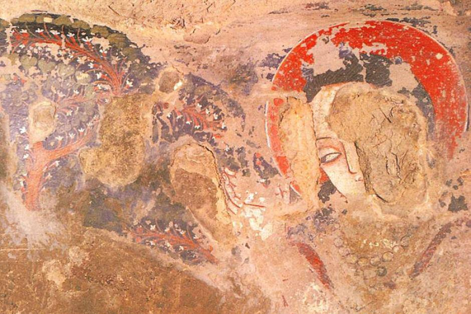 Oil painting at bamyan in afghanistan predating