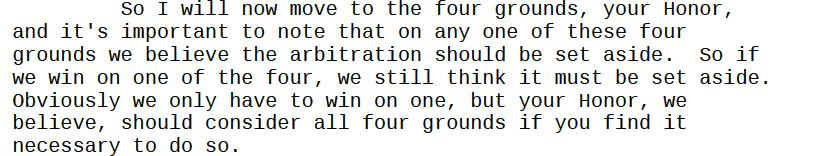 Kessler: we only need to win on 1 of our 4 grounds for the arbitration award to be vacated. Batting .250 is enough! http://t.co/XyAosMGqVk