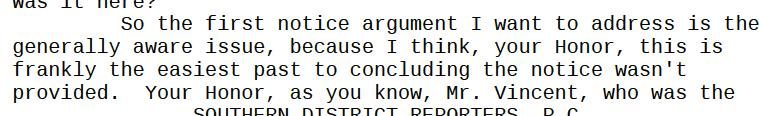"""Kessler: the """"easiest path"""" to winning on lack of notice is the """"generally aware"""" issue: http://t.co/u88My3RkGS"""