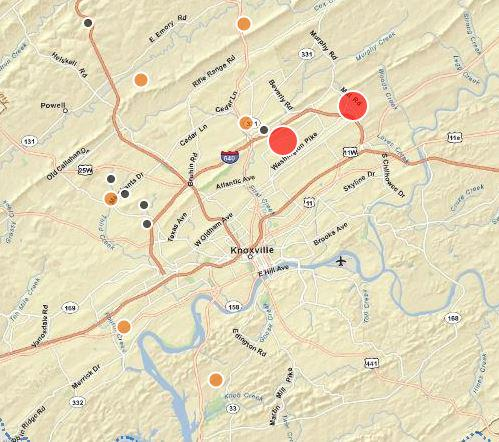 Kub outage map shows about 2,300 people without power as storms
