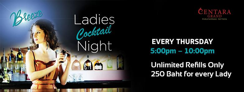 Ladies Night today at Breeze beach club, UNLIMITED REFILLS for 250 baht #Centara #Cocktails #ladiesnight  #FreeRefill http://t.co/UbdpxHkCw7