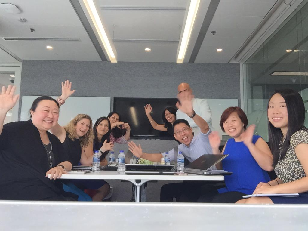 My bald head, the venerable @MasterCardAP team, extended team, my partner in crime @MarcyCohen in lovely #Singapore http://t.co/g6B01jveDc