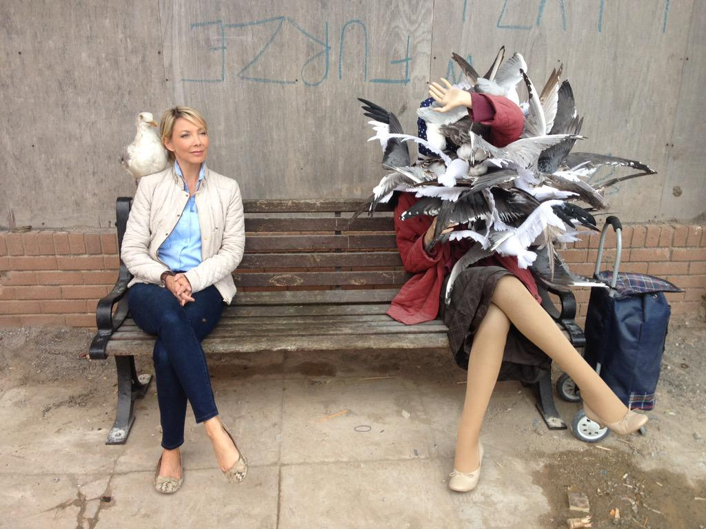 Am live at #Dismaland on @bbcpointswest. This Banksy sculpture sums it up. Pieces that actively contradict each other http://t.co/sOyQeHm8hZ