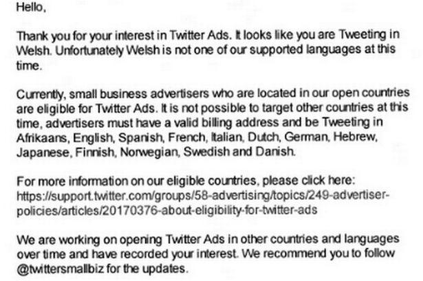 Businesses banned from advertising in Welsh on Twitter prompting complaints from firms | http://t.co/GlK9jCejwl http://t.co/9AgalMXQ6k