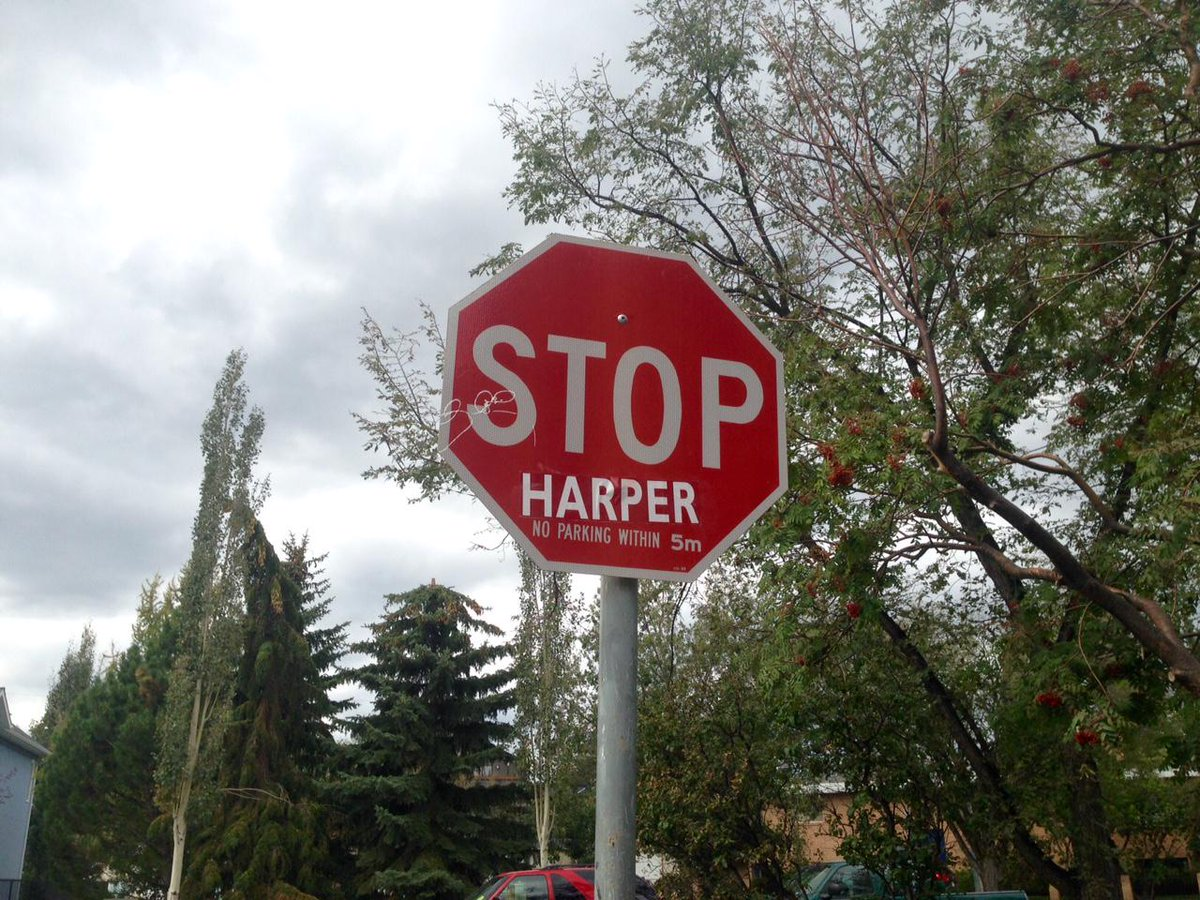 "Signs of discontent in the Conservative heartland? ""Stop Harper"" stop signs popping up in Calgary. #elxn42 #yyc http://t.co/S9SA9jDuu0"