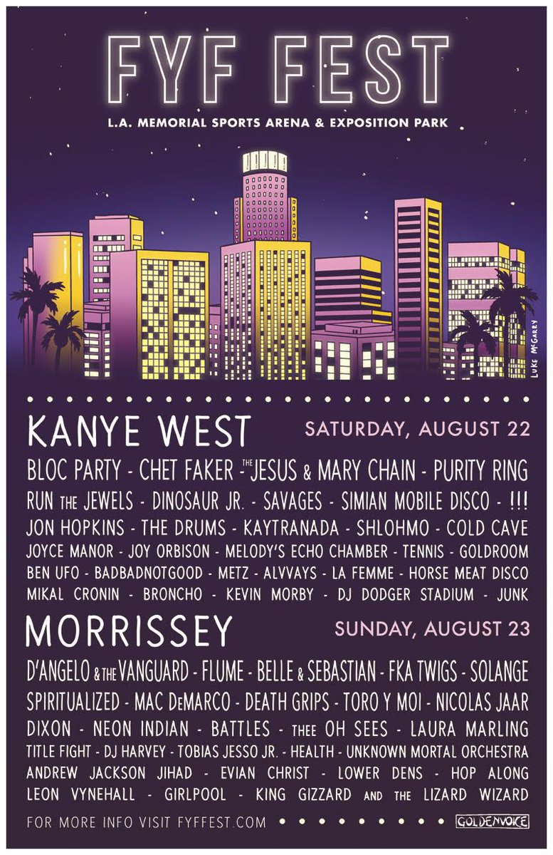 Kanye West is now headlining Saturday night of @FYFFest – please visit http://t.co/nDeoLVGhFx for details. http://t.co/8j64ntGvmM