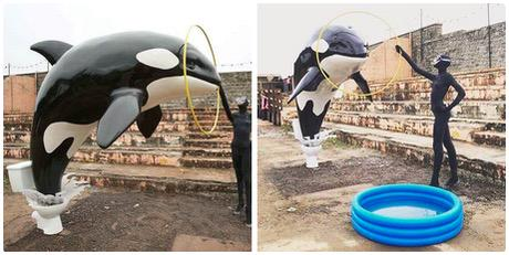 Great to see the #blackfish message going strong as Banksy's new #Dismaland features this killer whale piece http://t.co/bACzqjOL1X