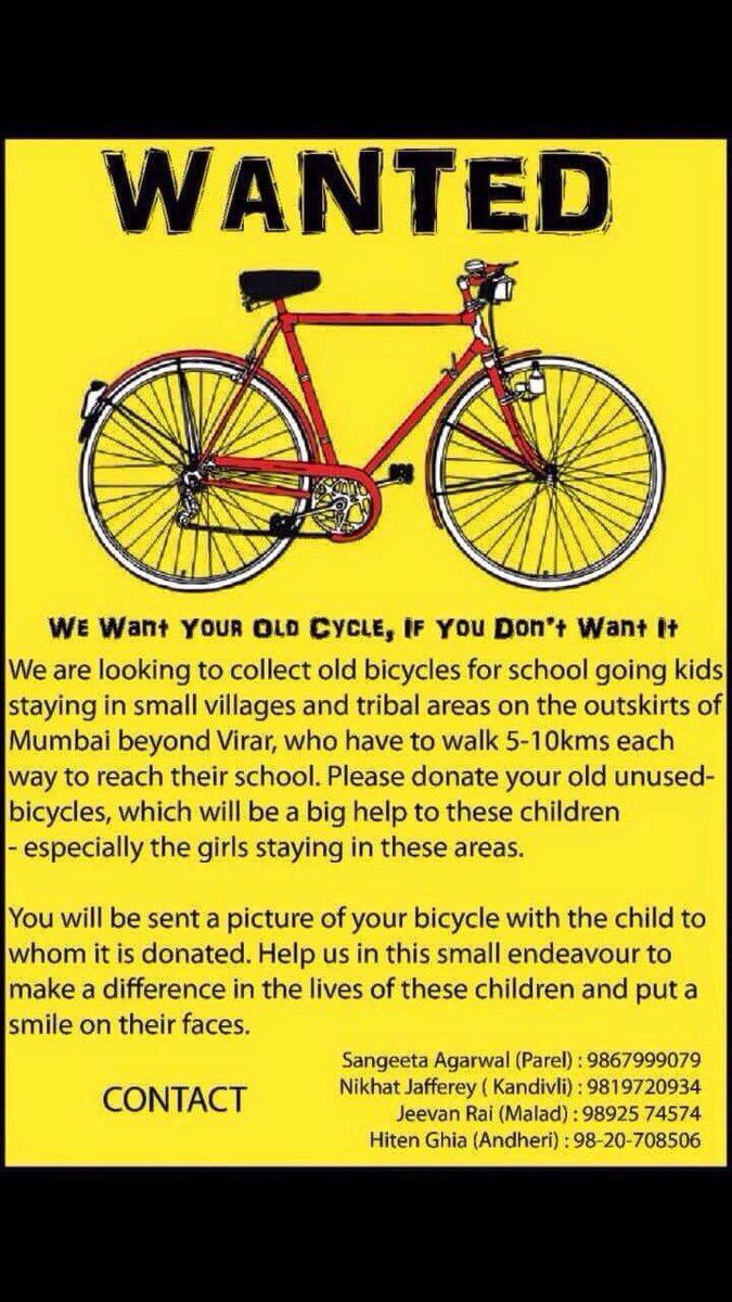 Got an old cycle you don't use? Donate it and help a tribal kid who has to walk 5-10 kms to school everyday. Plz RT. http://t.co/MMsUWuBtmU