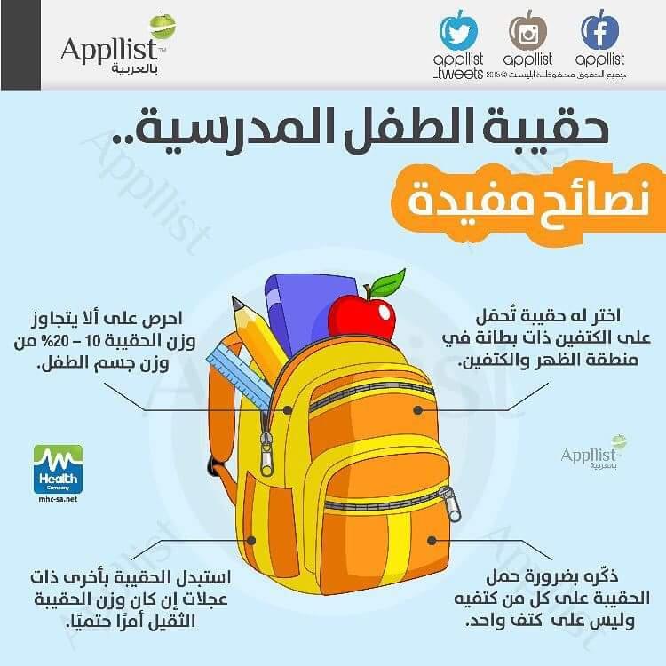 حقيبة طفلك.. كي لايضر ظهره او كتفه.. كوني حريصه على ترتيبها ووزن يتحمله الطفل والافضل كما هو مكتوب حقيبة ذا عجلات http://t.co/mAaQmI02JO
