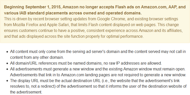 """""""Beginning September 1, 2015, Amazon no longer accepts Flash ads"""" http://t.co/VL1N6zi2AX http://t.co/n0oofpoiH9"""