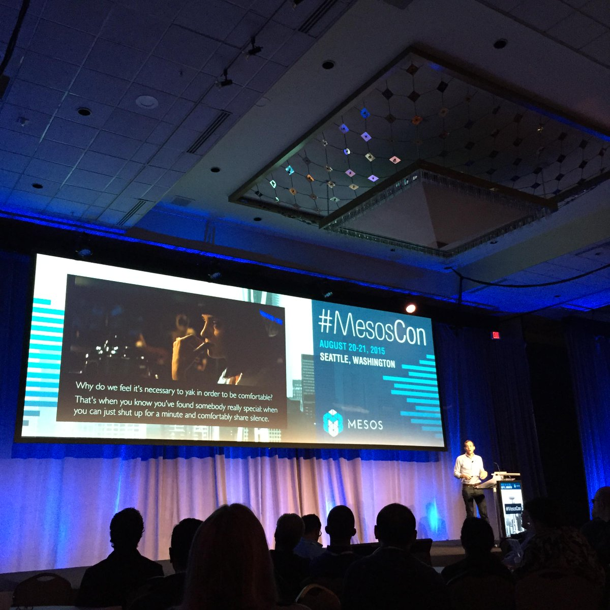 """#MesosCon @pbailis on coordination-free systems - """"Scalable systems can just shut up and comfortably share silence."""" http://t.co/OUnYdIbSrL"""