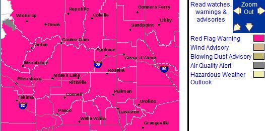 #RedFlagWarning – potential for rapid fire spread. #Chelan #Ellensburg #Yakima #Omak #Spokane #Colville #Pullman http://t.co/2R5zyc5mEy
