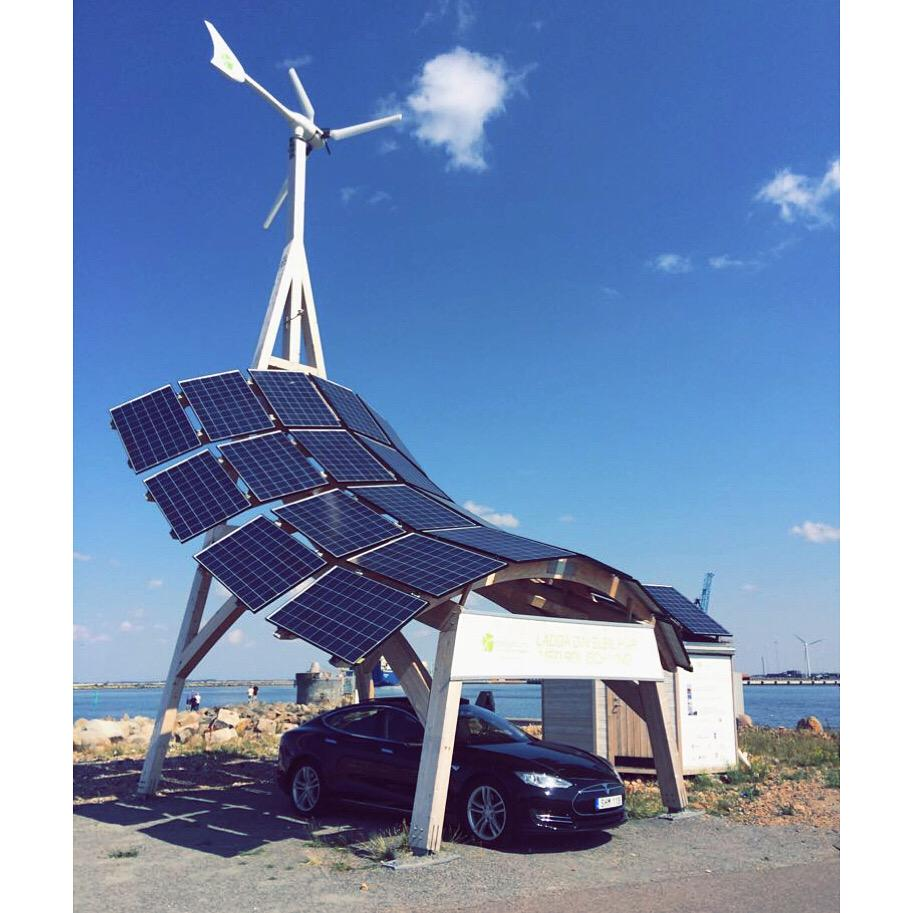 "PlugShare pic of the week,Swedish charging station innovation by user John-location ""Scania Parken""#solar #Tesla #EVs http://t.co/4Q8h5eHYr4"