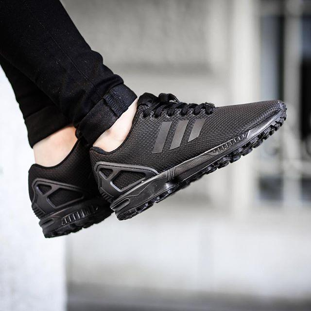 Adidas Zx Flux Triple Black On Feet